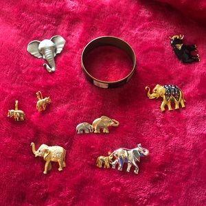 Elephant pendants, earrings and bracelet jewelry